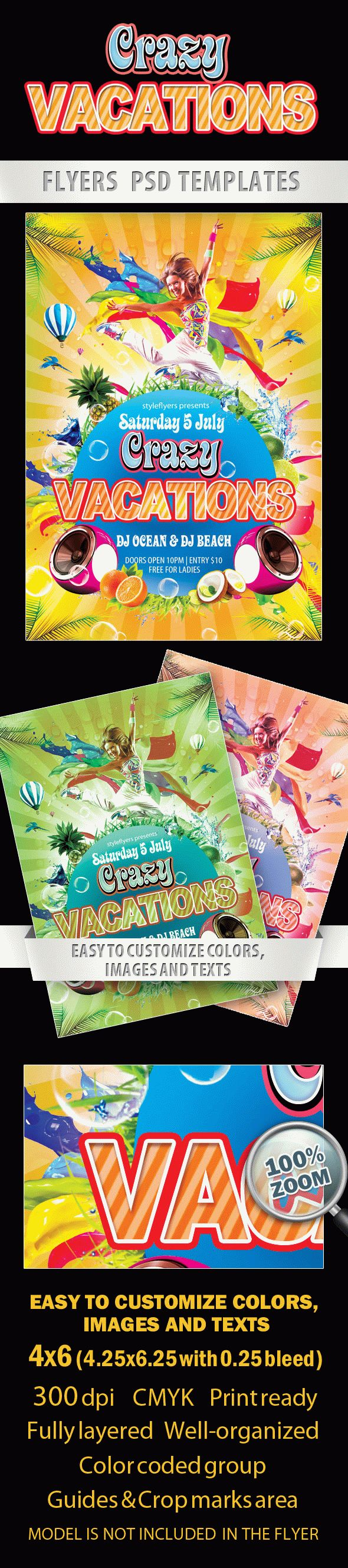 Crazy Vacations Party Flyer