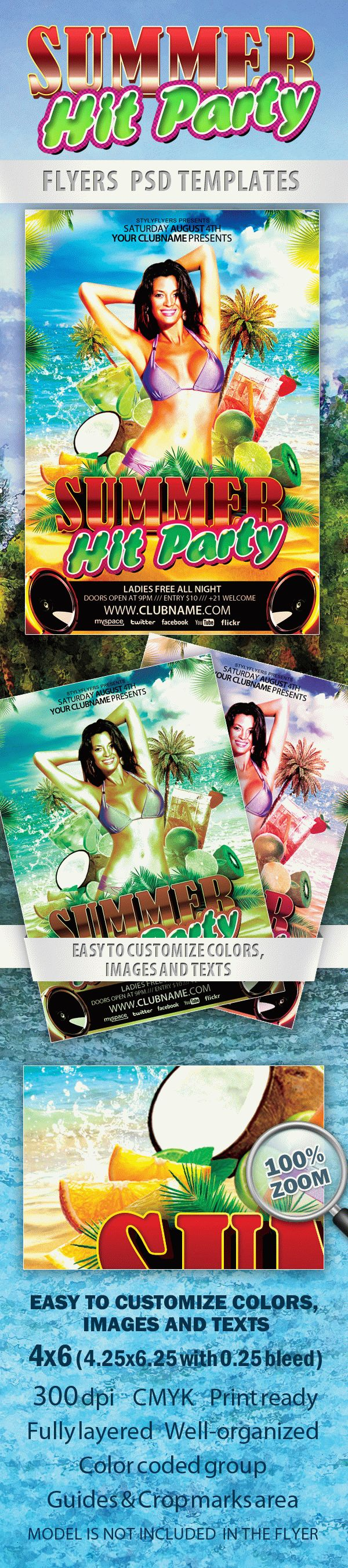 Summer Hit Party Free Flyer PSD Template