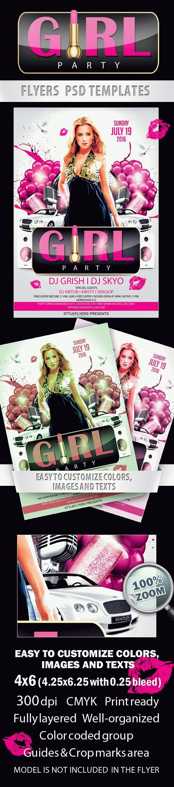 Party Girl Party Free Flyer PSD Template