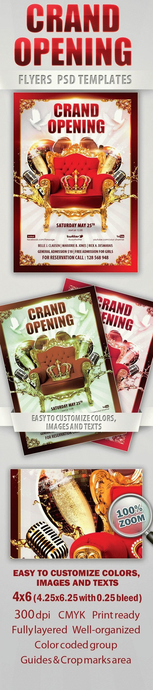 Grand Opening Party Free Flyer PSD Template
