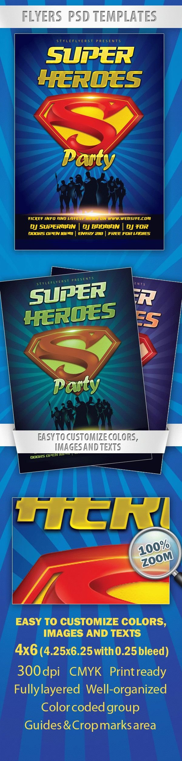 Superheroes Party Flyer