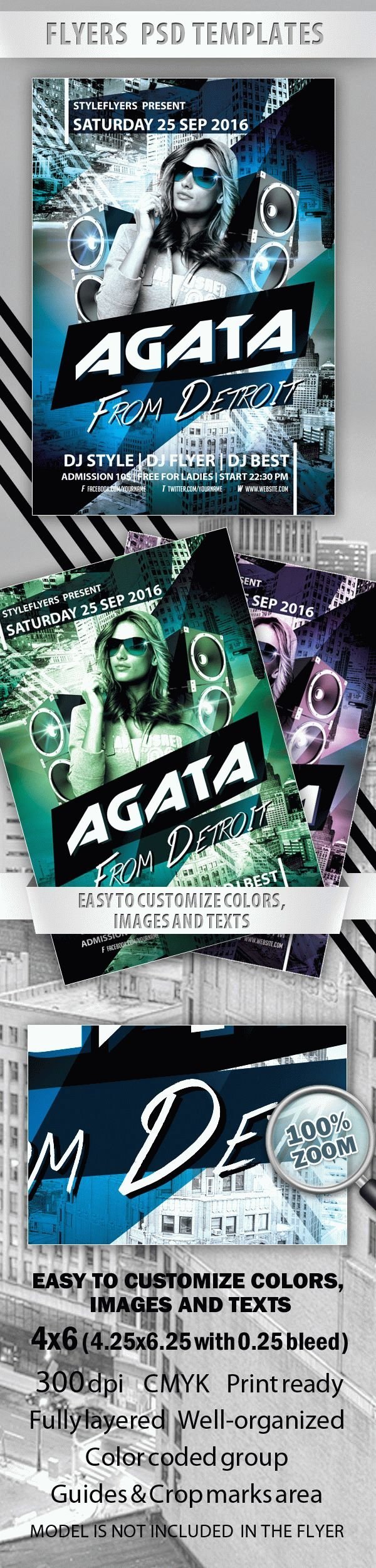 Agata from Detroit Party Flyer