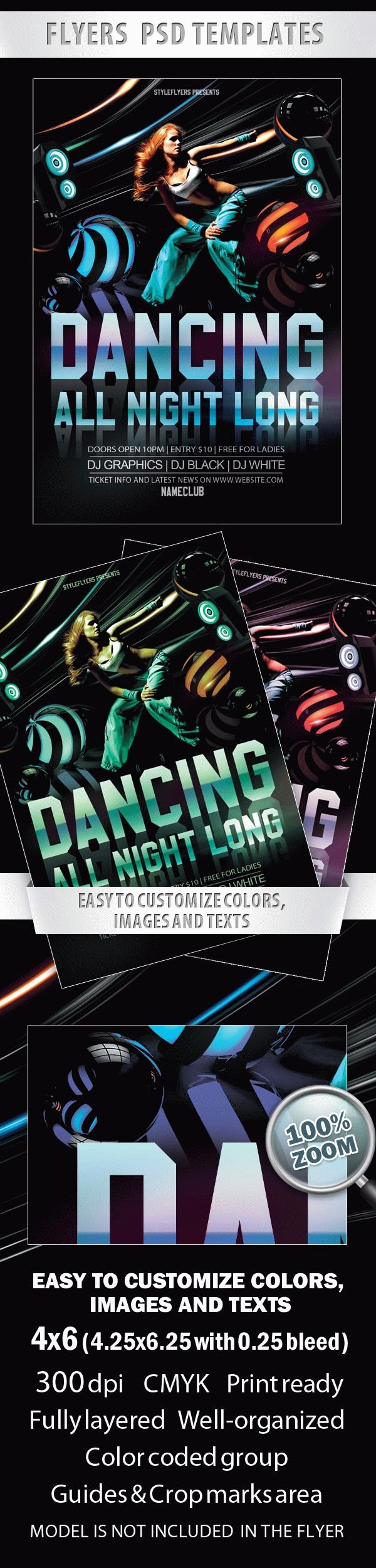 Dancing All Night Long - Party Flyer