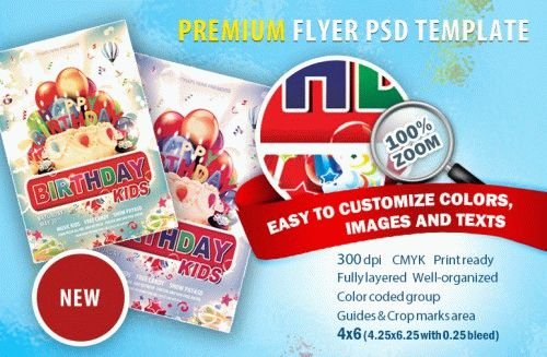 Birthday Kids Party PSD Flyer Template