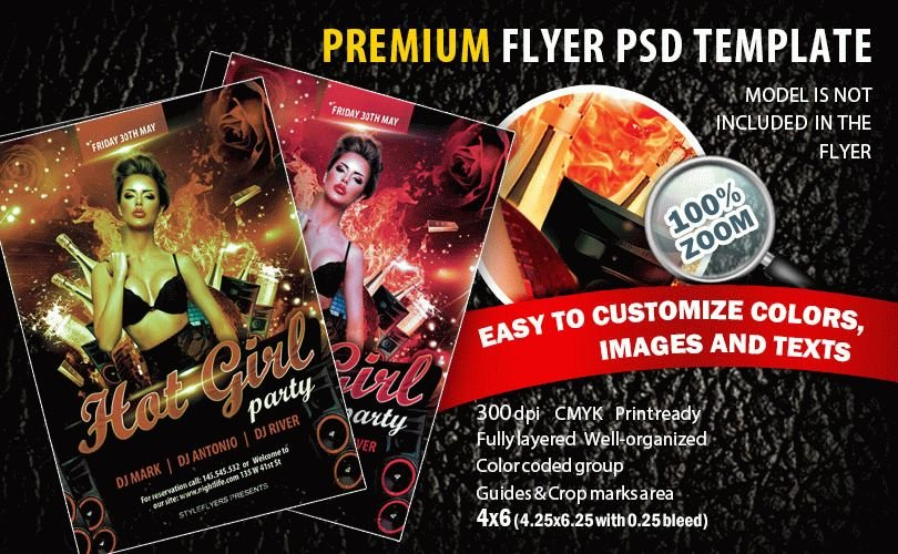 Hot girl Party PSD Flyer Template