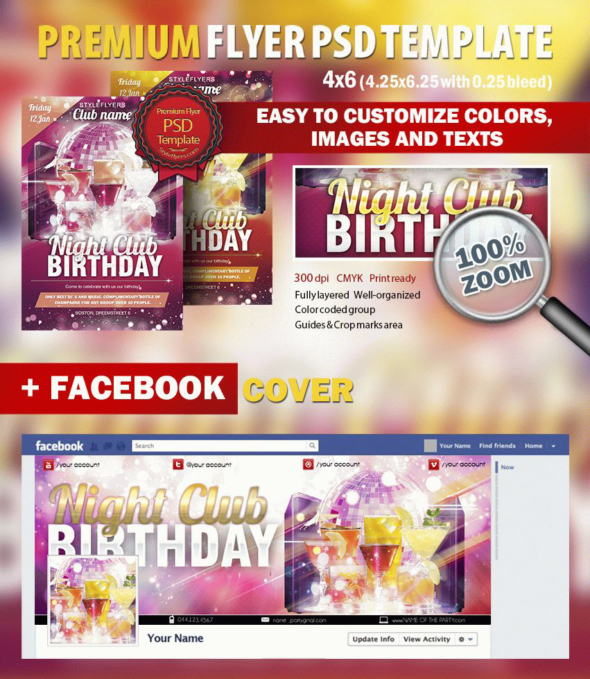 Club Birthday Party PSD Flyer Template