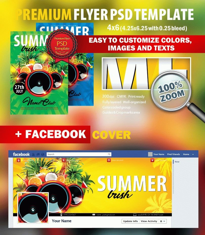 Pool PSD Flyer Template