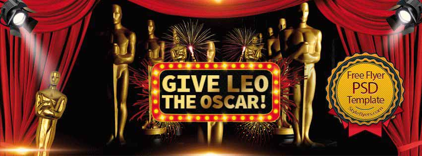 Give Leo the Oscar Free PSD Flyer Template