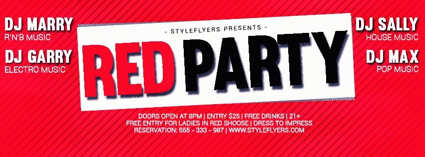 Red party PSD Flyer Template