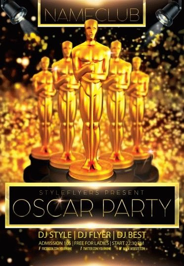 oscar party psd flyer template  5672