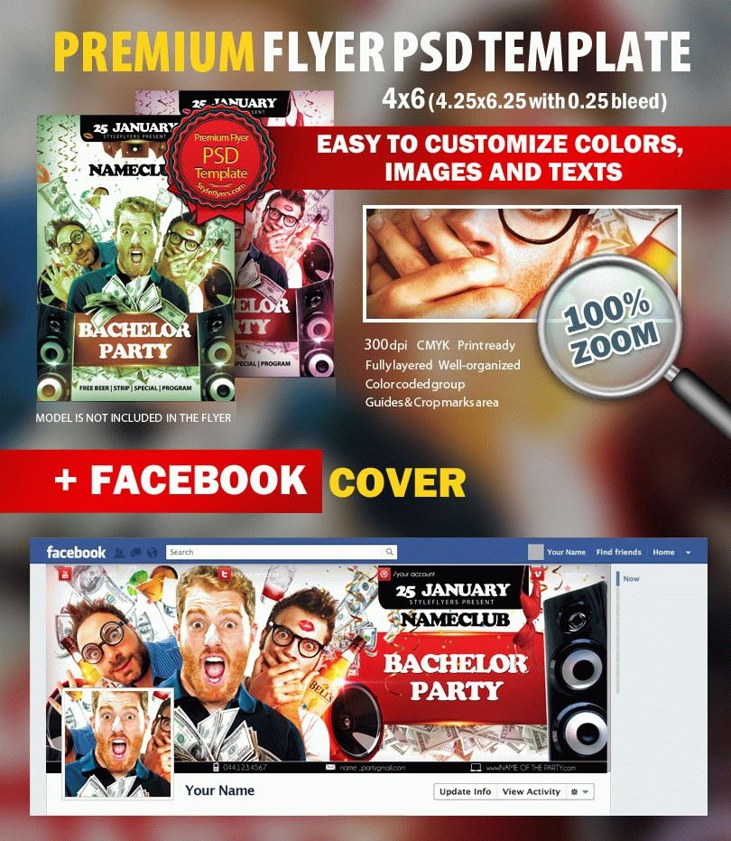 Bachelor  Party PSD Flyer Template