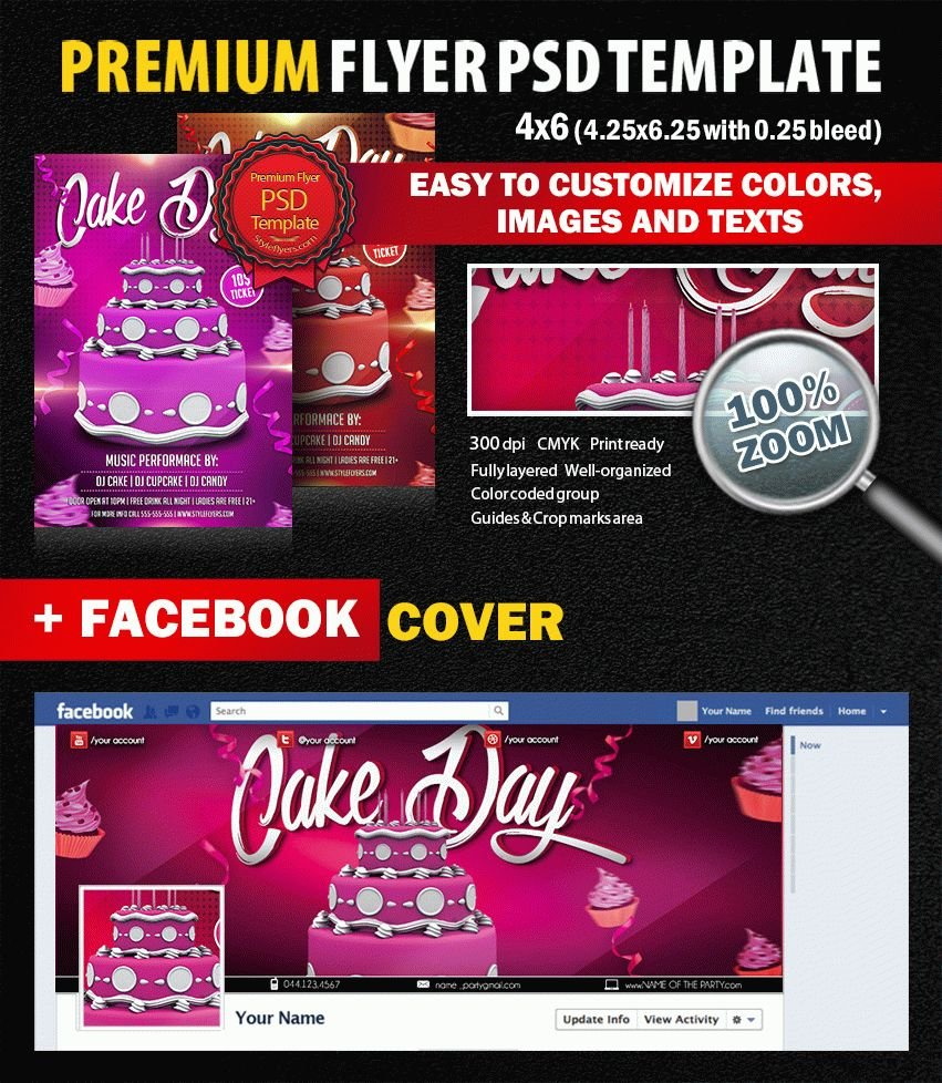 Cake Day party PSD Flyer Template