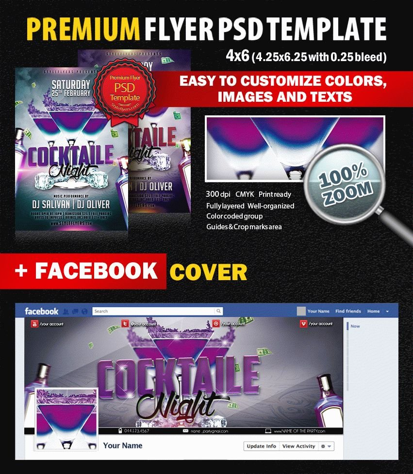 Cocktaile Night PSD Flyer Template