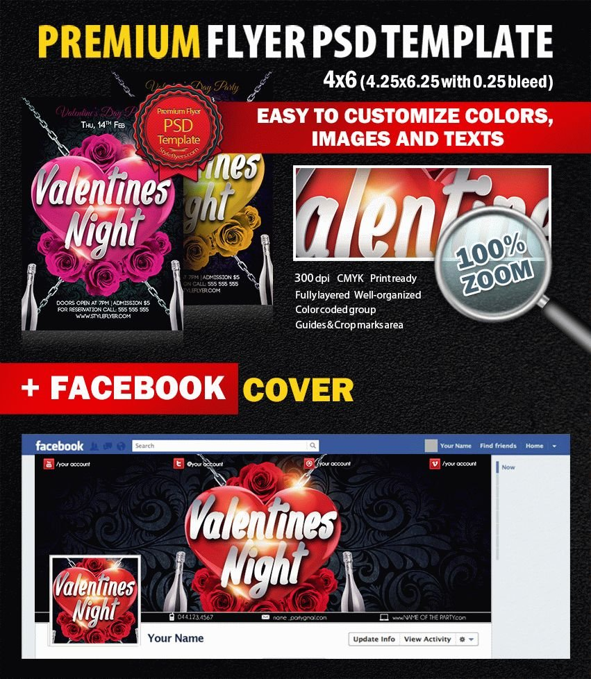 Valentines Night PSD Flyer Template