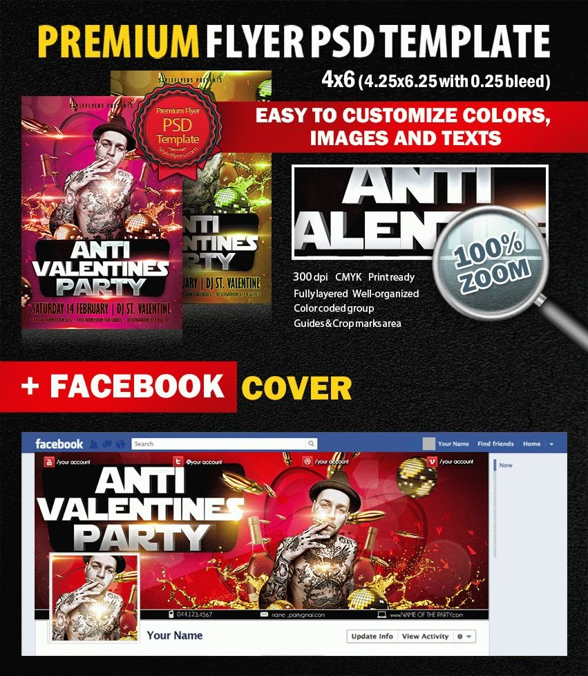 Anti Valentino Party PSD Flyer Template