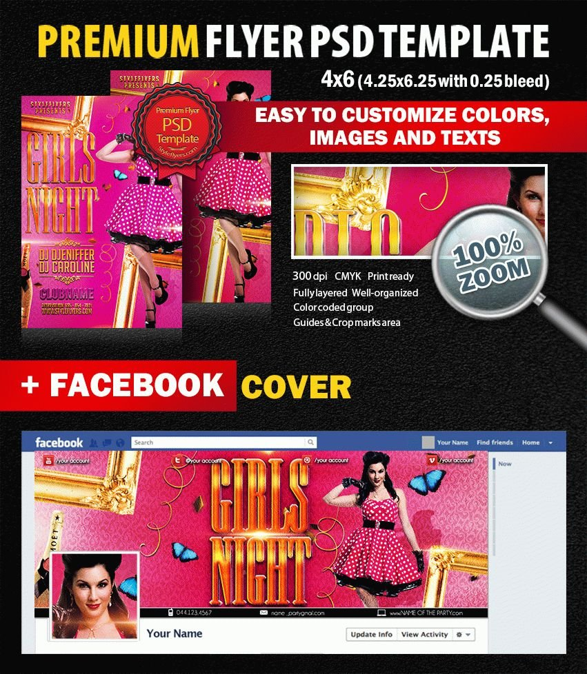 Girls Night Party PSD Flyer Template