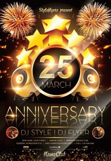 Anniversary Party Psd Flyer Template #6005 - Styleflyers