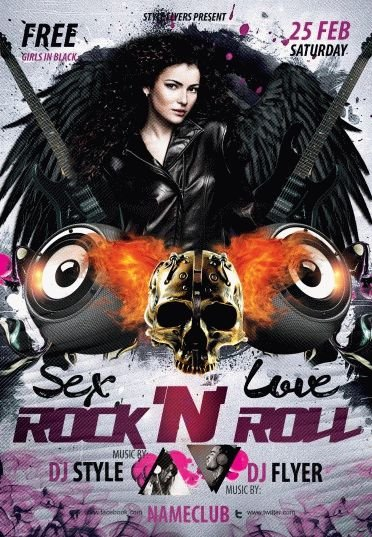 Sex Love And Rock N Roll Psd Flyer Template 5743 Styleflyers