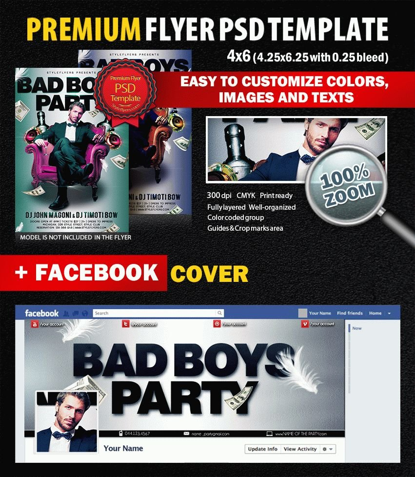 Bad Boys Party PSD Flyer Template