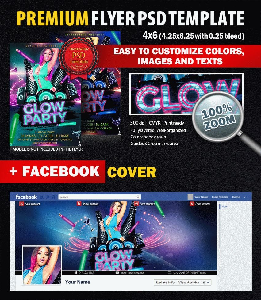 Dj Glow PSD Flyer Template