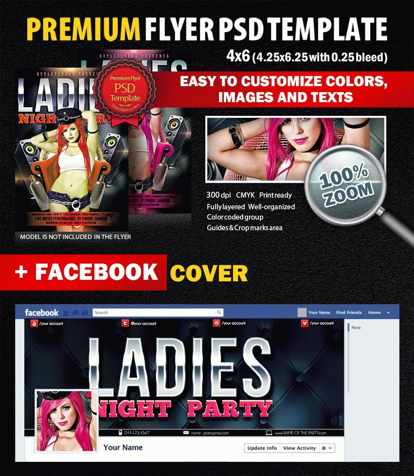 Ladies Night Party PSD Flyer Template