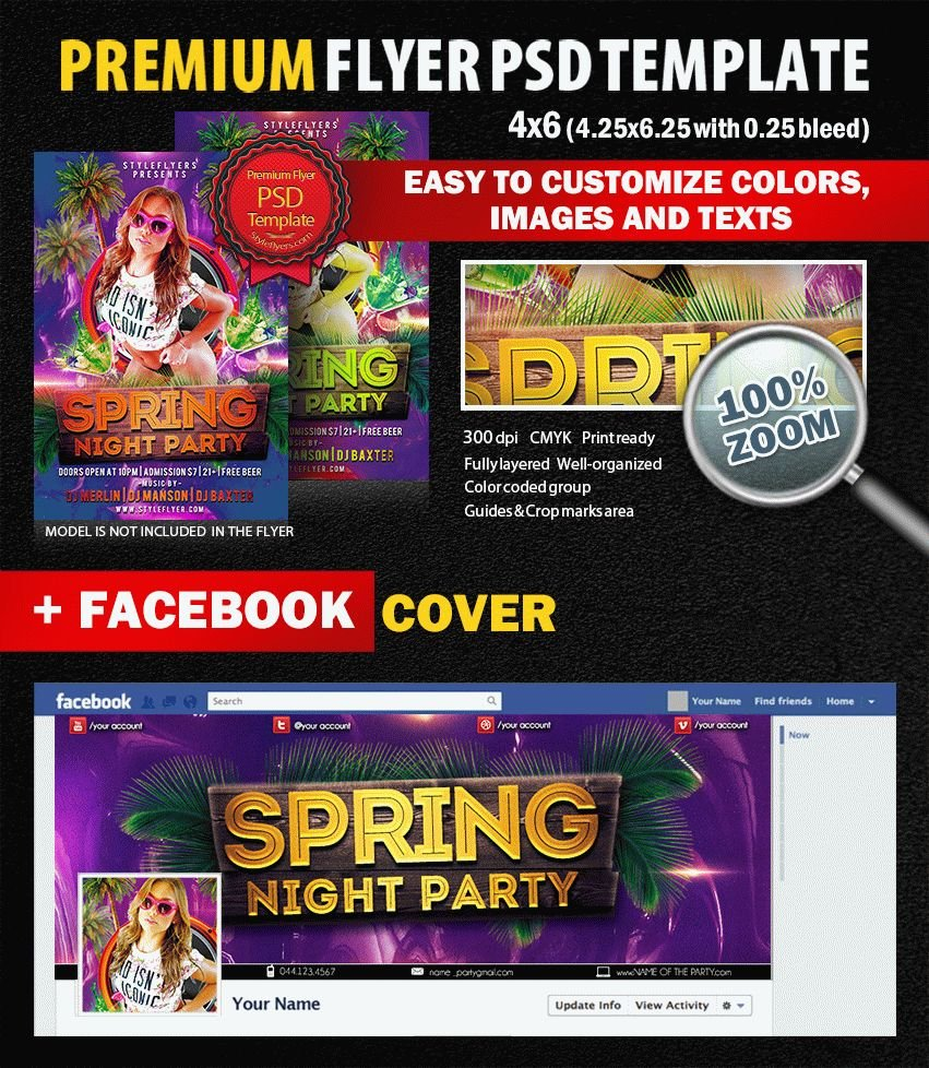 Spring Night Party PSD Flyer Template