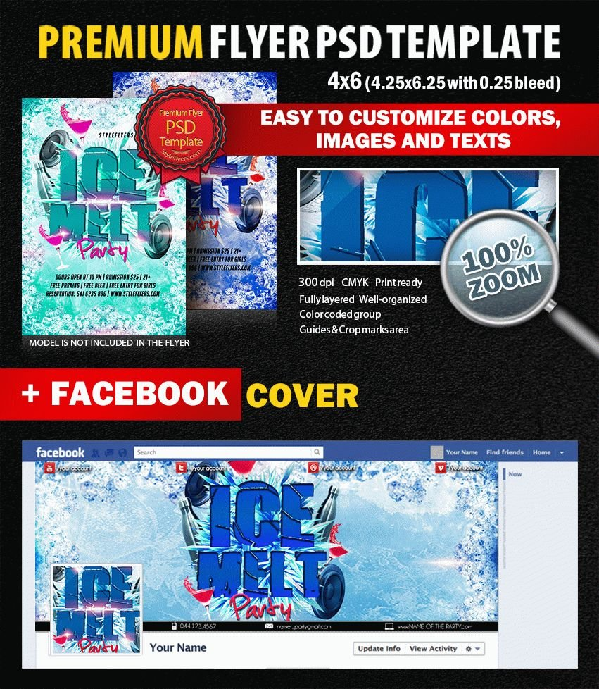 Ice Melt Party PSD Flyer Template