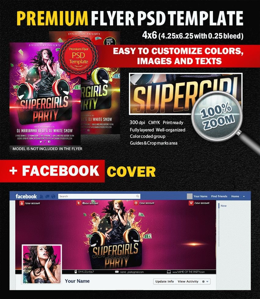 Supergirls Party PSD Flyer Template