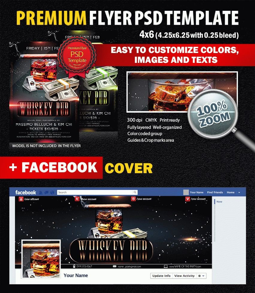 Whisky Pub PSD Flyer Template