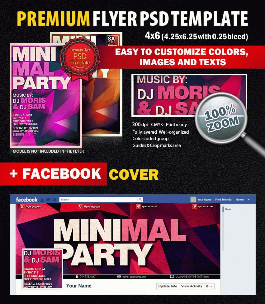 Minimal Night Party PSD Flyer Template