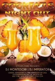 Cocktails night out PSD Flyer Template