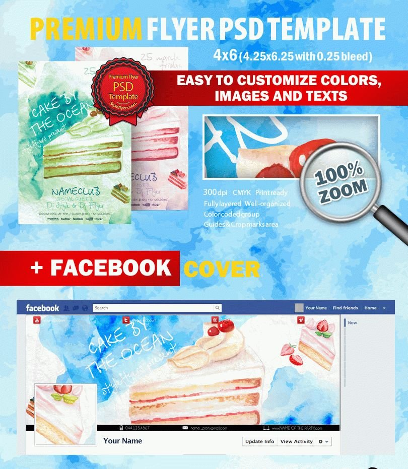 Cake By The Ocean PSD Flyer Template