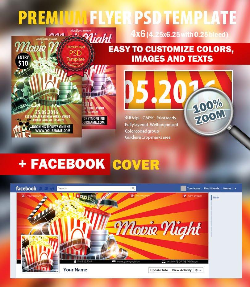 Movie Night PSD Flyer Template 6341 Styleflyers – Movie Night Flyer Template