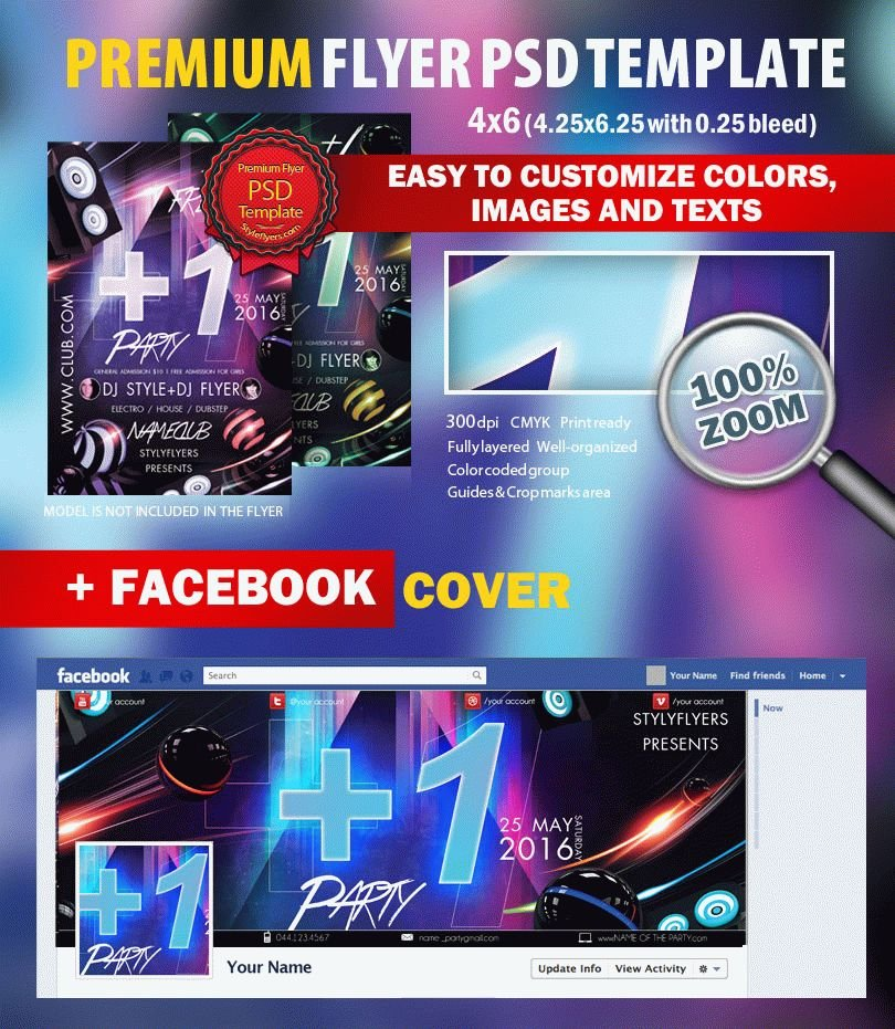 +1 Party PSD Flyer Template