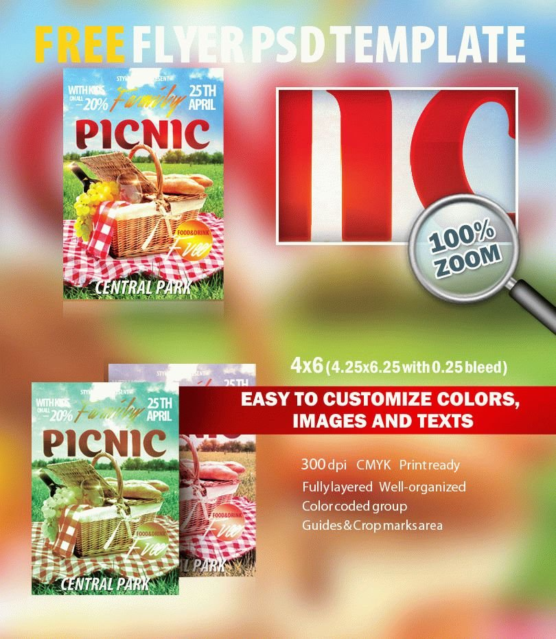 Family Picknic Psd Flyer Template Free Download   Styleflyers