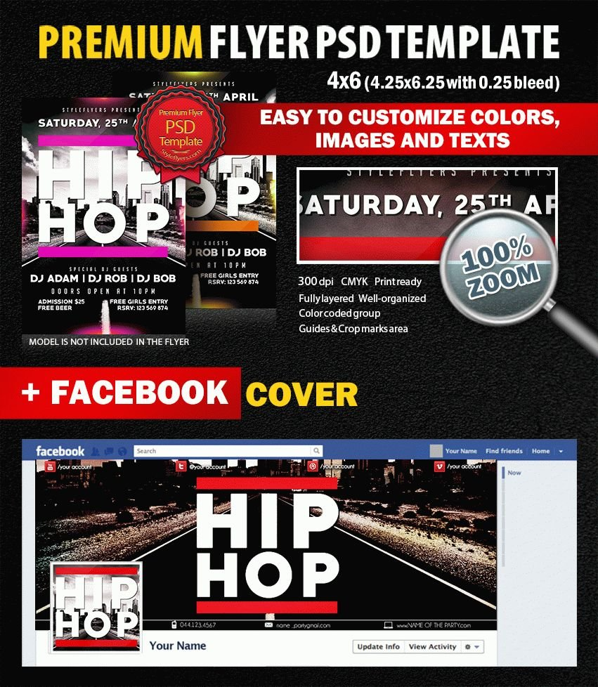 Hip Hop Party PSD Flyer Template