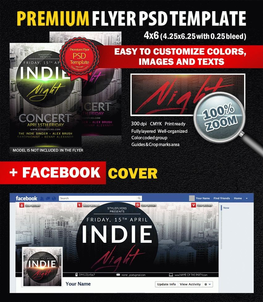 Indie Night  PSD Flyer Template