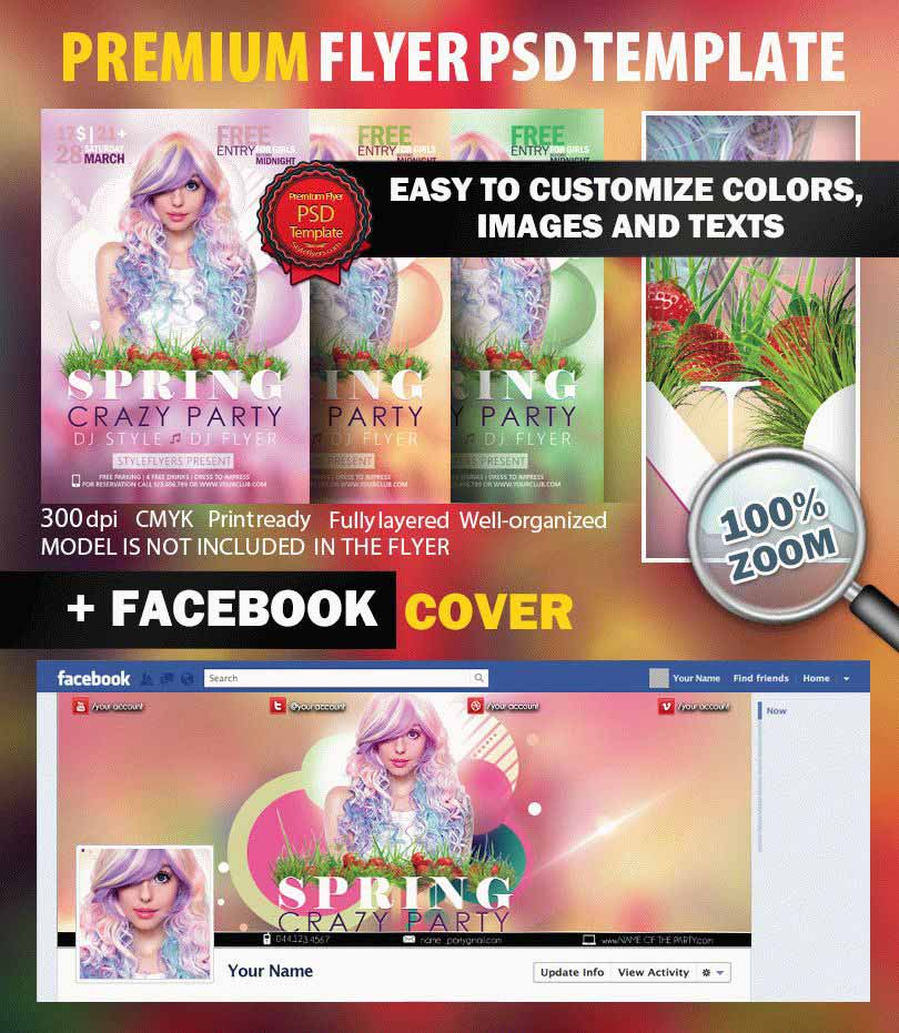 Spring Crazy Party PSD Flyer Template