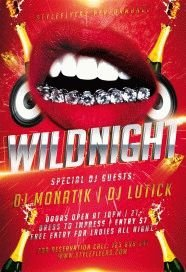 wild night PSD Flyer Template