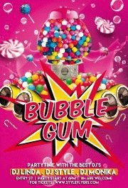 Bubble Gum Party PSD Flyer Template
