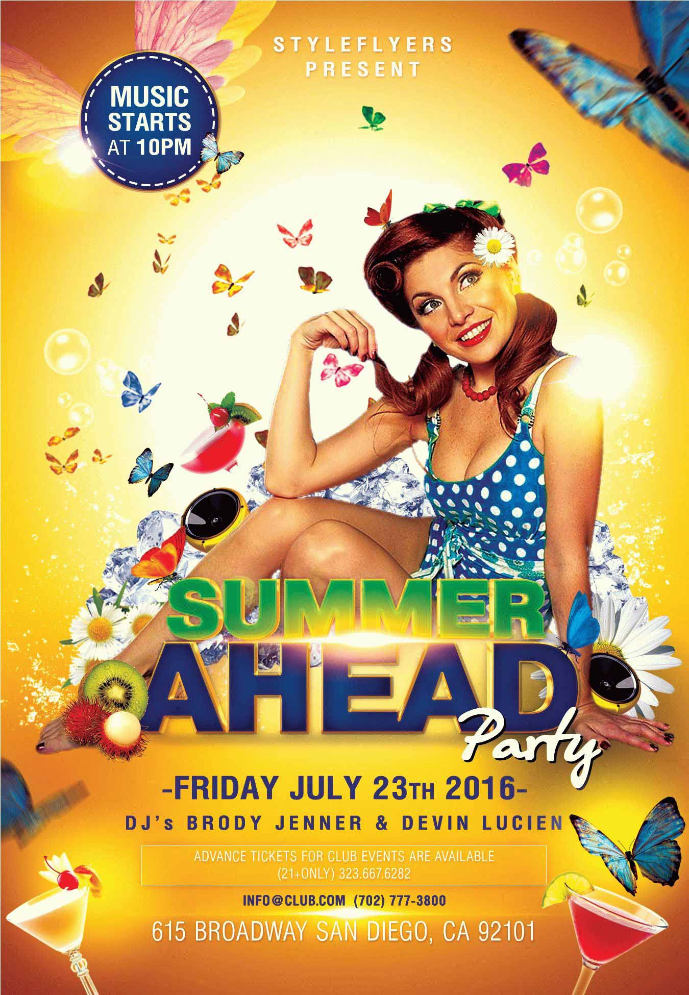 summer ahead psd flyer template with animated fully