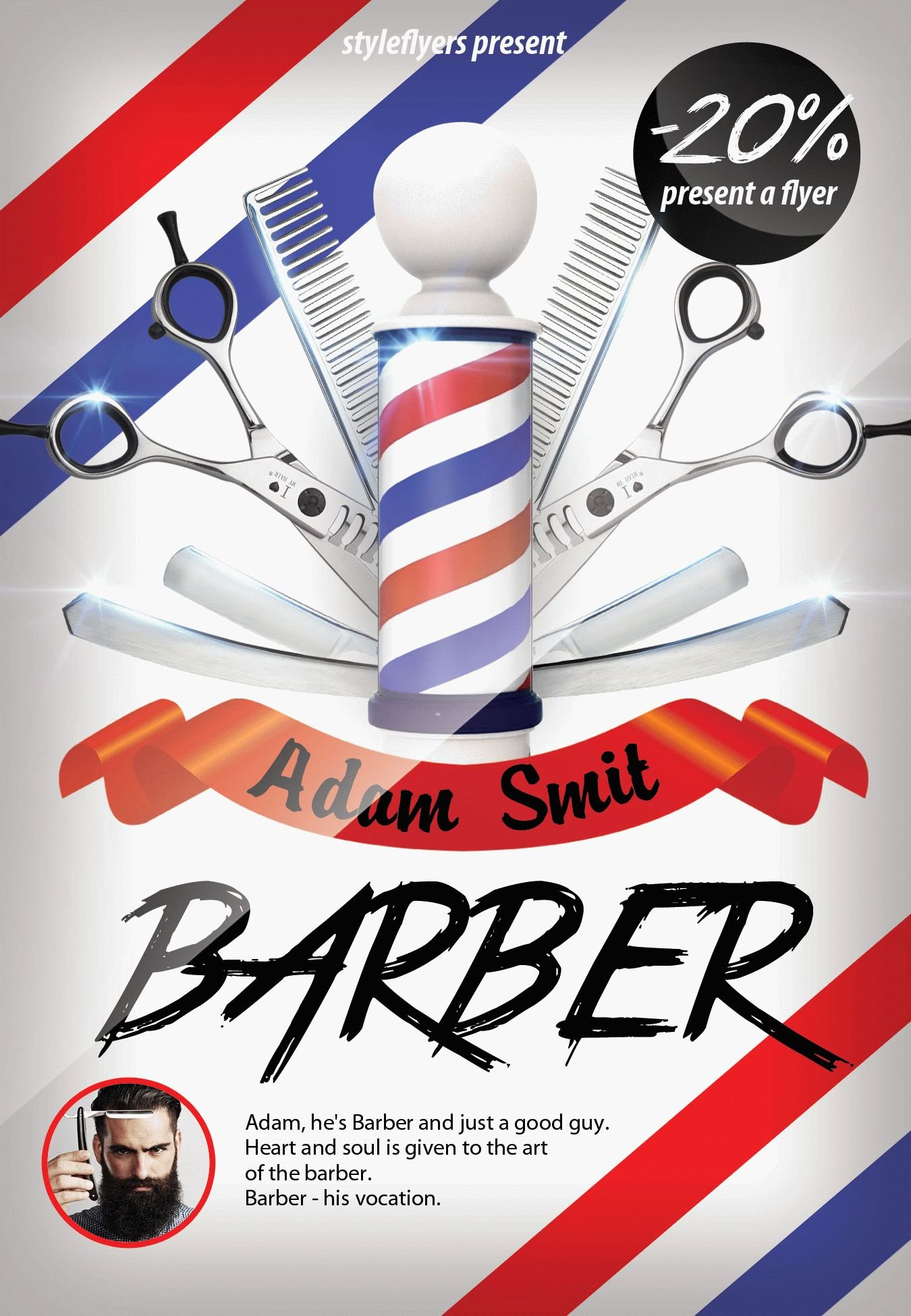 barber psd flyer template 7303 styleflyers. Black Bedroom Furniture Sets. Home Design Ideas