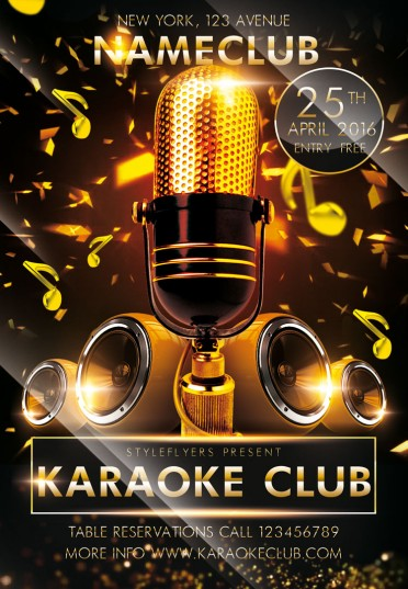 Karaoke Club Psd Flyer Template #7343 - Styleflyers