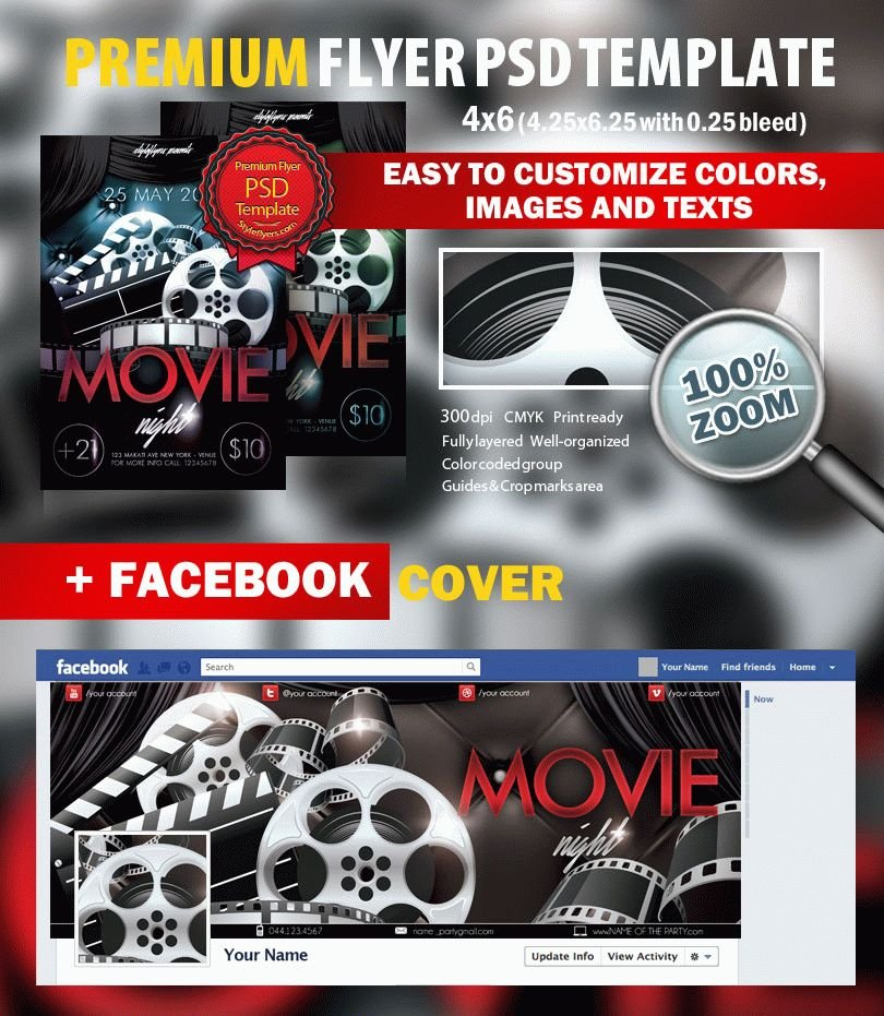 Movie Night Psd Flyer Template   Styleflyers