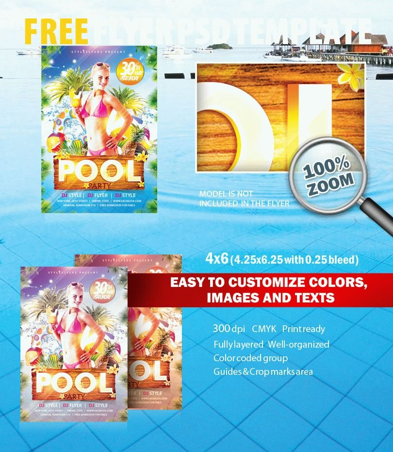 Pool Party Psd Flyer Template Free Download #7745 - Styleflyers