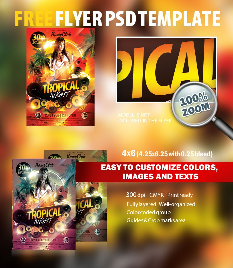tropical night psd flyer template free download 7330 styleflyers