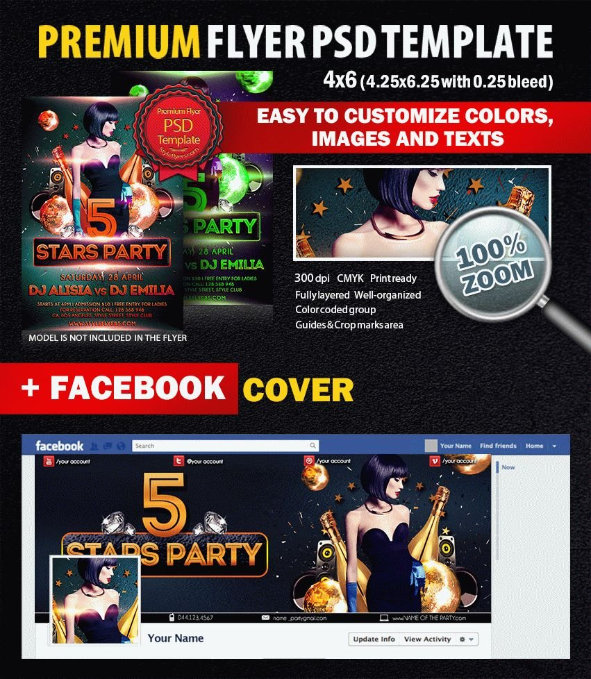 5 stars party PSD Flyer Template