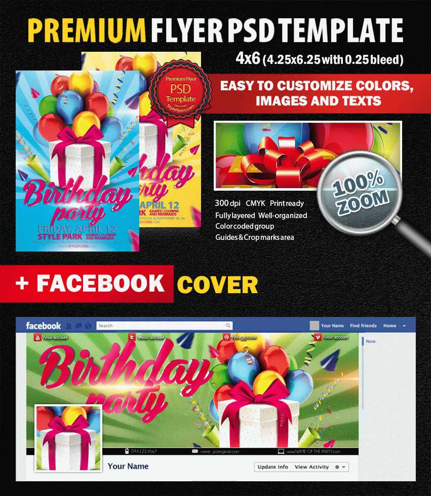 Birthday Party PSD Flyer Template with animated fully editable invitation