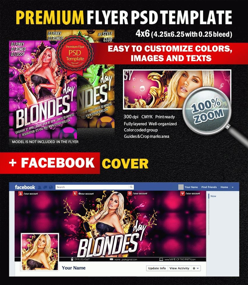 Blondes Day PSD Flyer Template