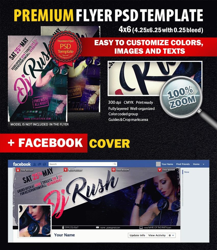 Dj rush PSD Flyer Template